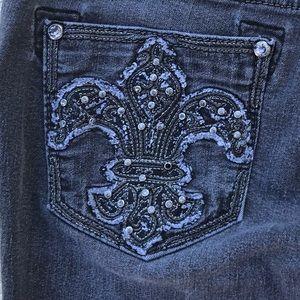 Miss Me Jeans - MISS ME Fleur de Lis Sparkle Black Wash Jeans 29